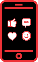 Mobile phone showing social media icons - like, heart, happy face, conversation